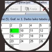 Darbo laiko apskaitos programa pagal VAS grafiko pildymas